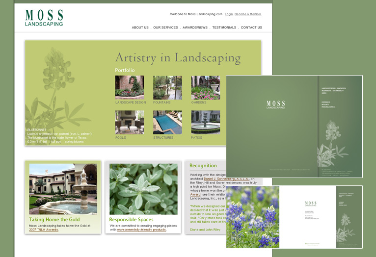 Moss Landscaping - Website and collateral